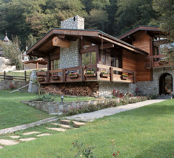 custom wood and rock home