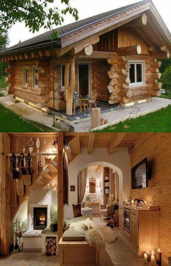 log home interior and exterior