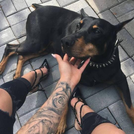 woman petting dog