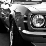 classic car in black and white