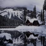 winter lake cabin