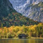 boathouse in fall near lake