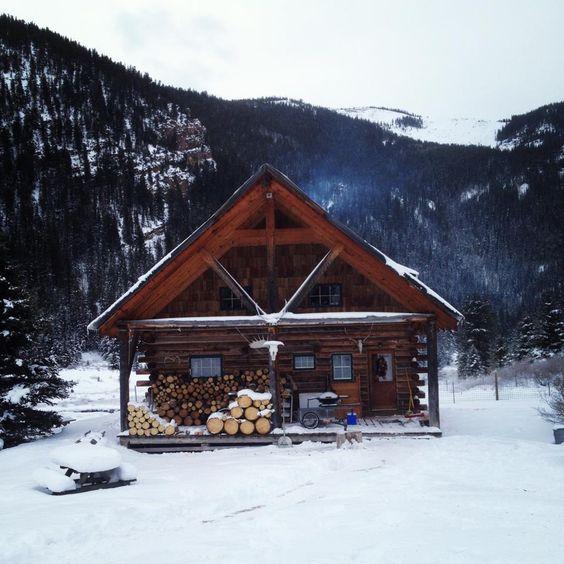 cabin snow firewood