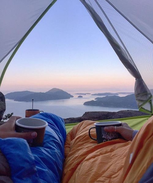 husband and wife morning view from tent