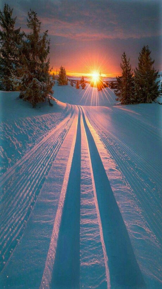 snow road sunrise