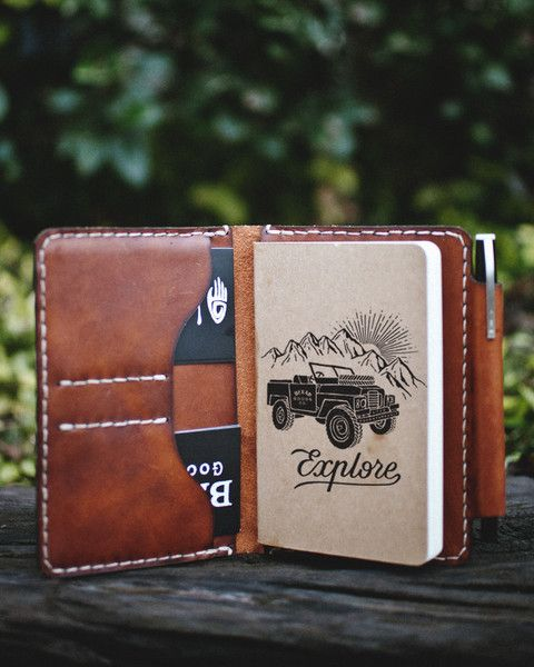 mens notepad with leather case