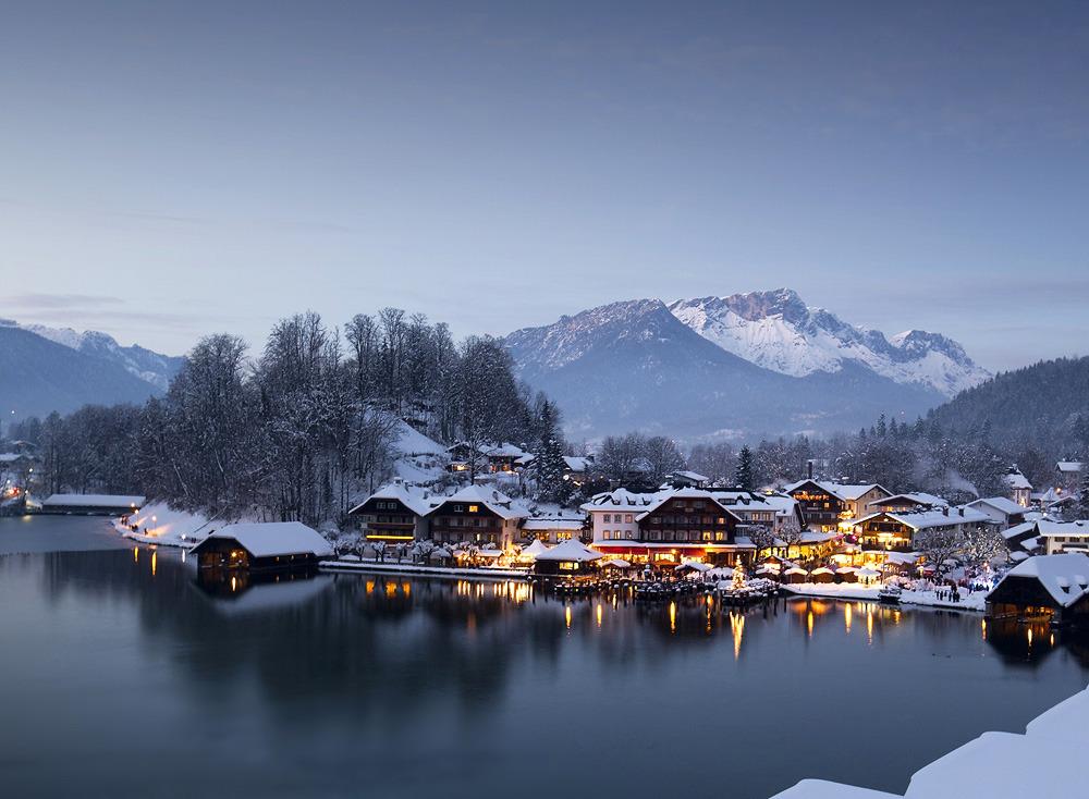 winter scene of town
