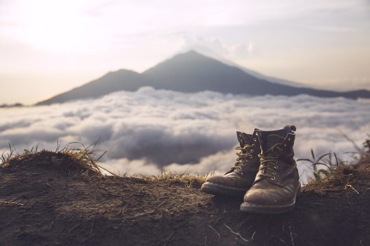 boots on top of mountain