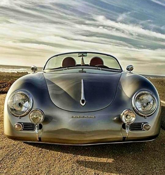 silver convertible porsche