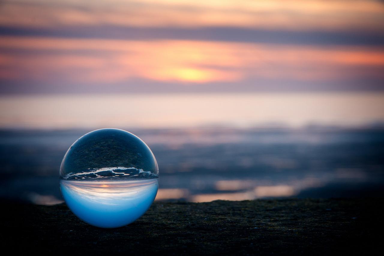 sunset through glass orb