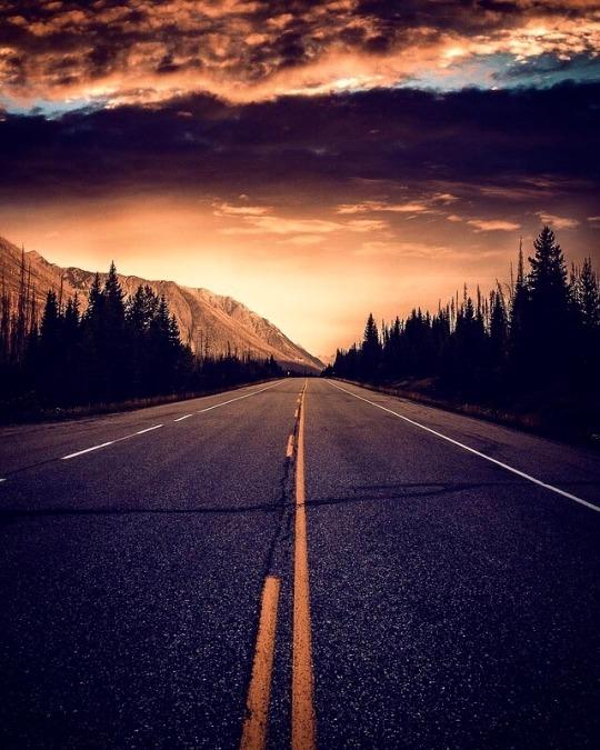 stunning sunset road