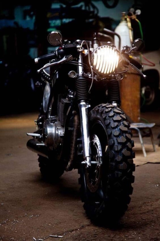knobby tires on motorcycle