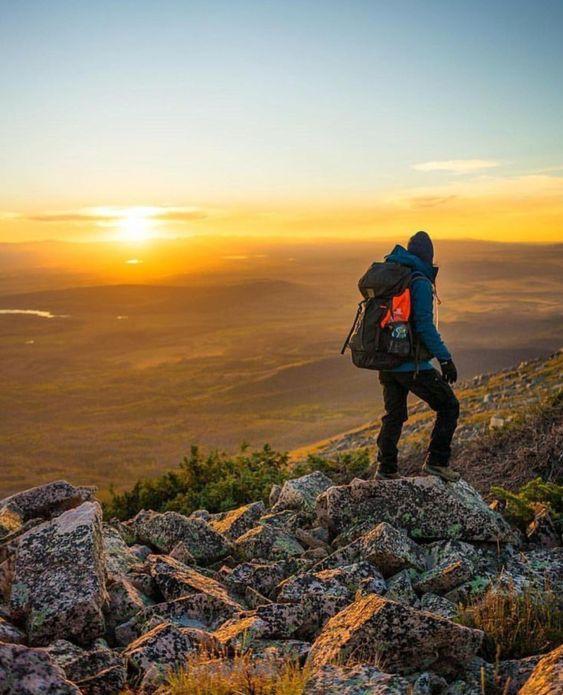 beautiful sunrise from ridge over valley
