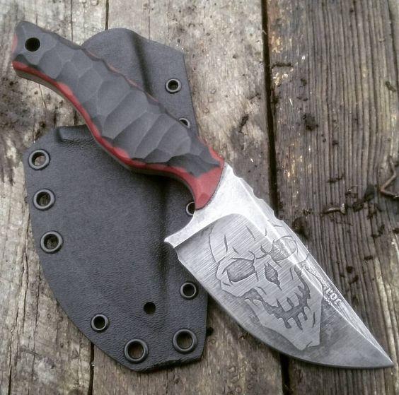 custom skull head knife