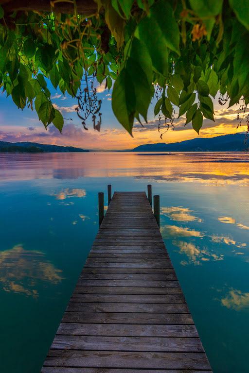lake dock sunset