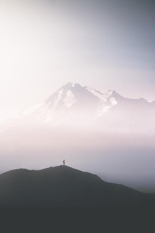 man on misty mountain