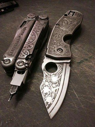 custom knife and leatherman