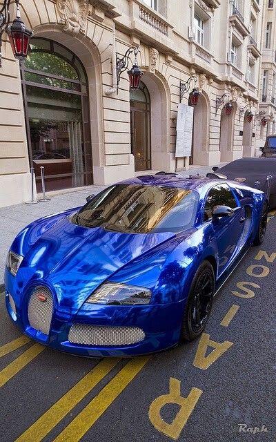 electric blue Bugatti