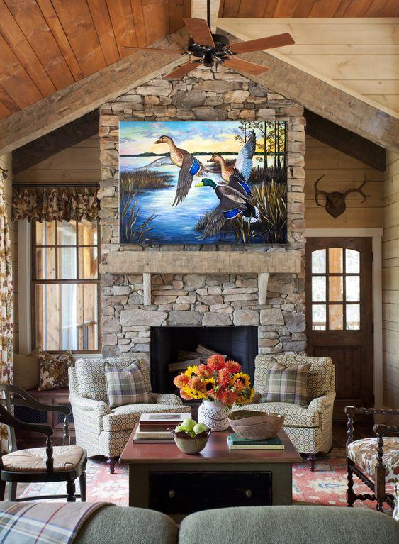 mallard mural above fireplace