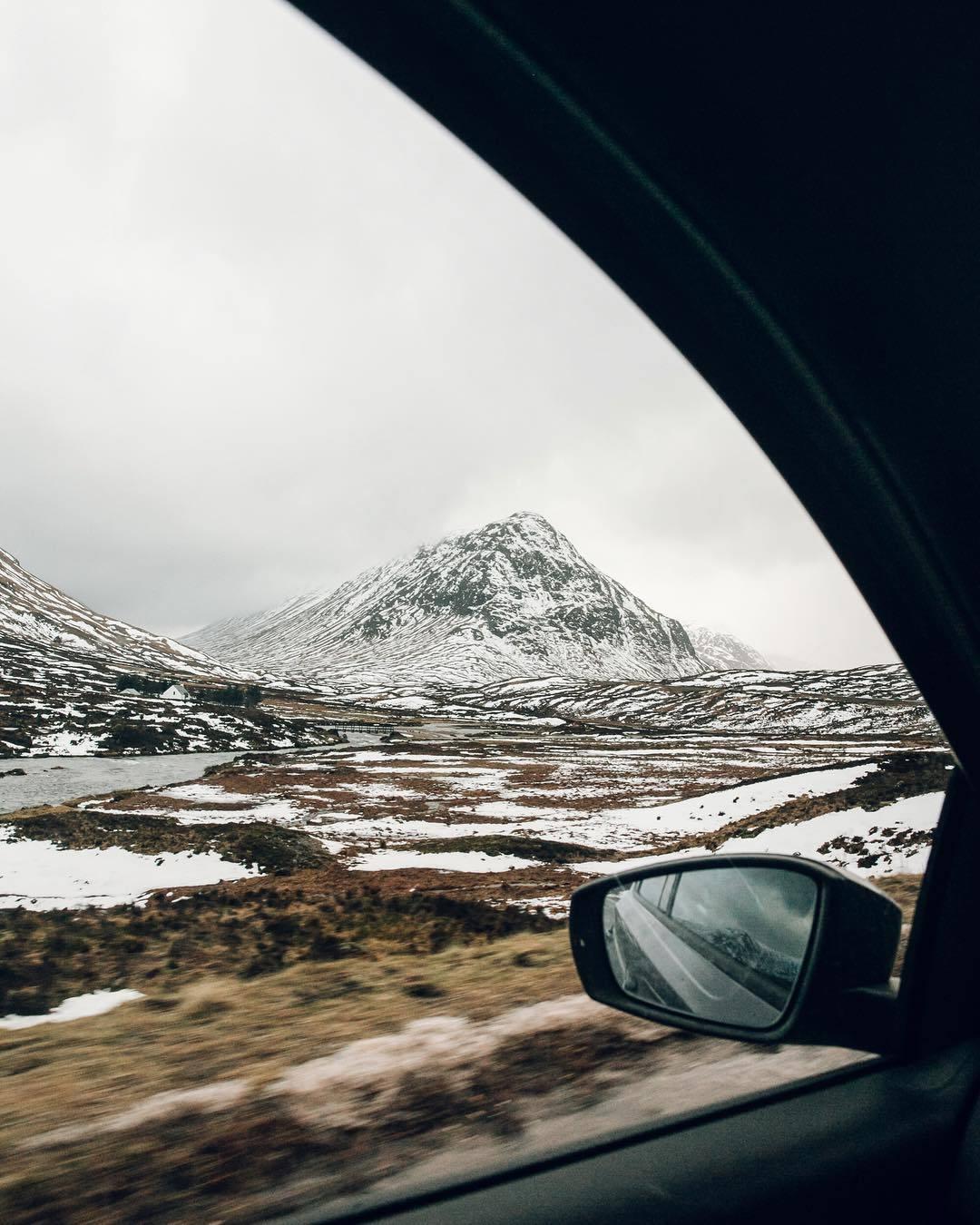 mountain scene from car window