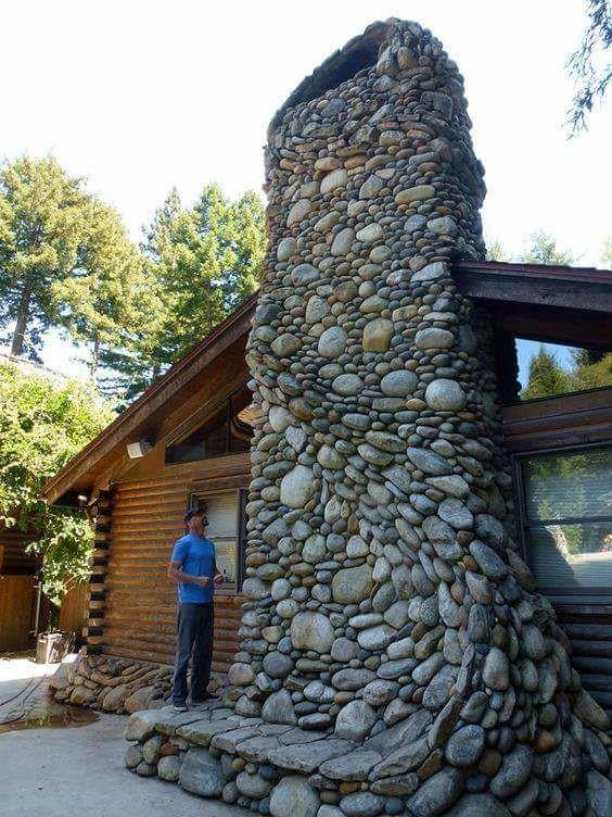 River rock chimney