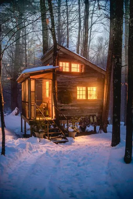 cozy cabin in the snow
