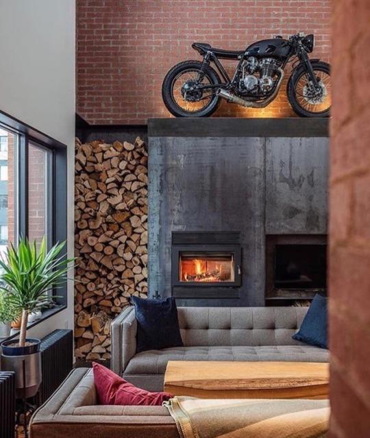 motorcycle as indoor decor