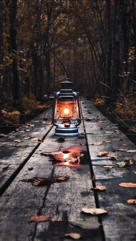 gaslight on table outdoors