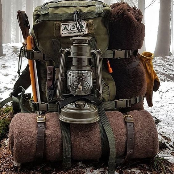 rugged backpack with camping gear