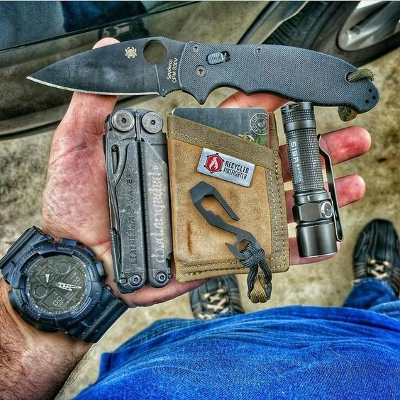 edc with recycled firefighter wallet