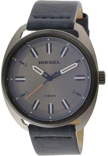Diesel Mens Fastbak DZ1838 Silver Leather Japanese Quartz Fashion Watch