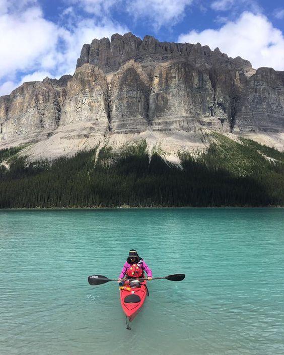 canoeing in mountain lake