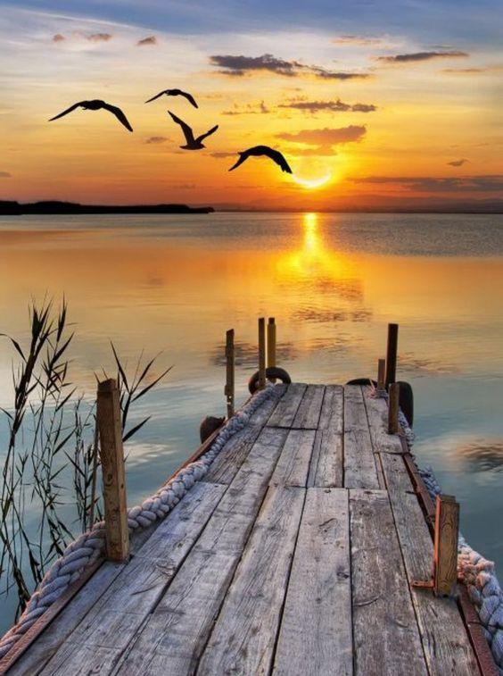 lake dock at sunset