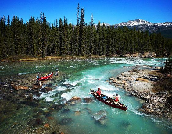 mountain lake canoeing