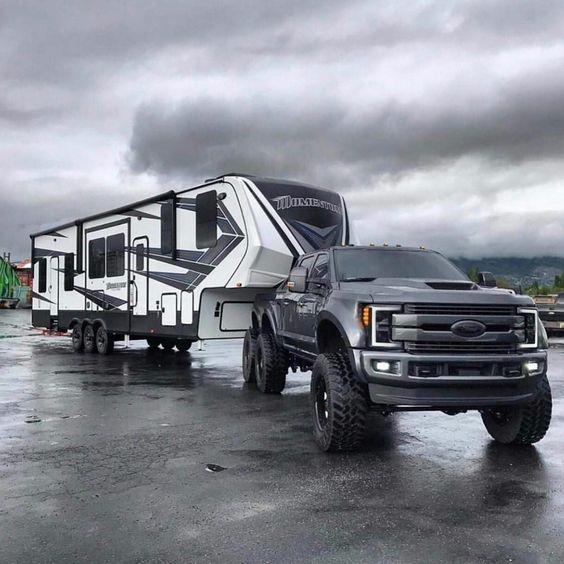 ford truck pulling camper