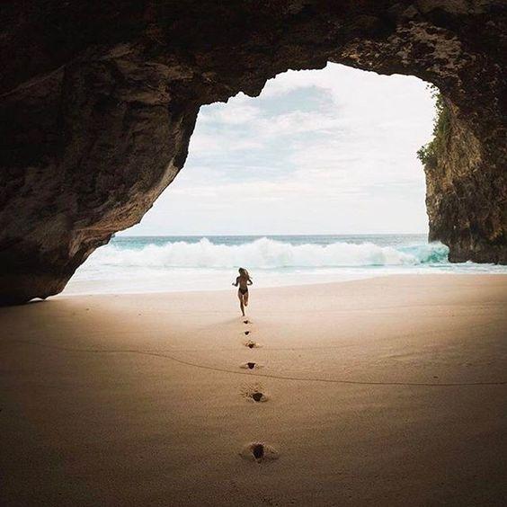 woman running through sand
