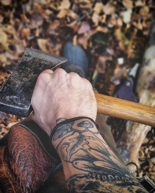 man holding ax
