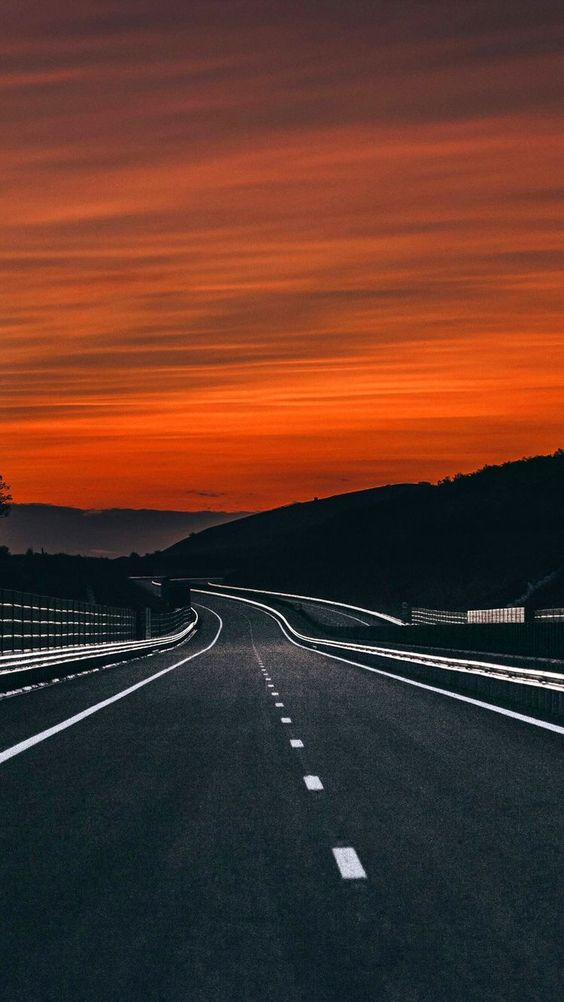 open road and sunset
