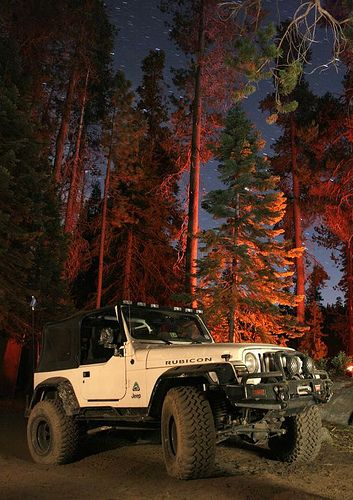 rubicon jeep in the wildnerness at night