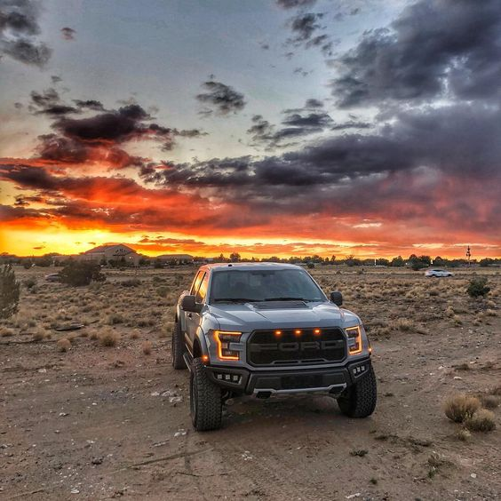 Ford Raptor and sunset