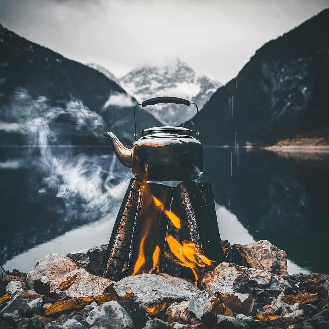 kettle on open fire outdoors