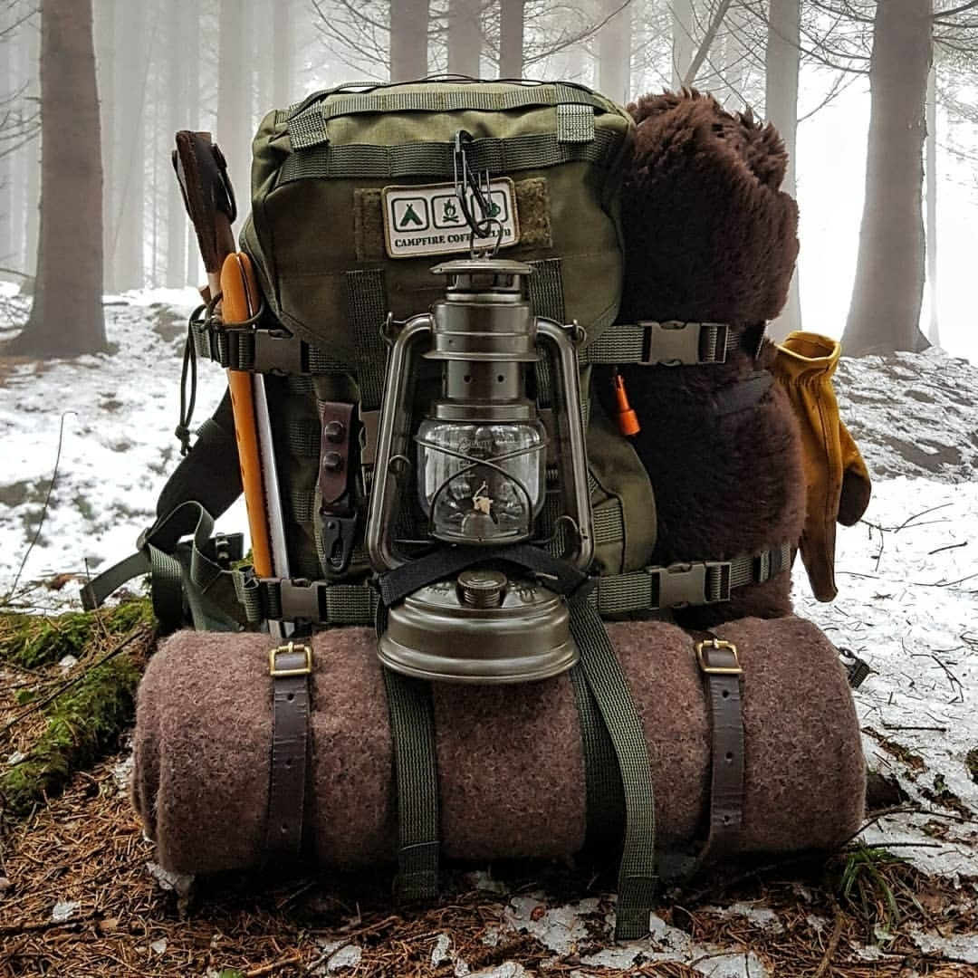 camping backpack in the snow