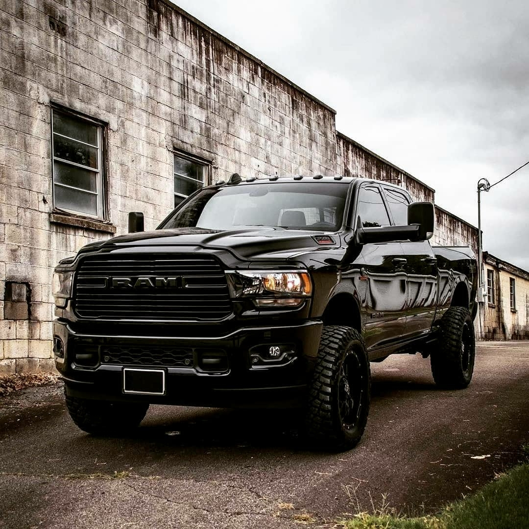 blacked out ram truck