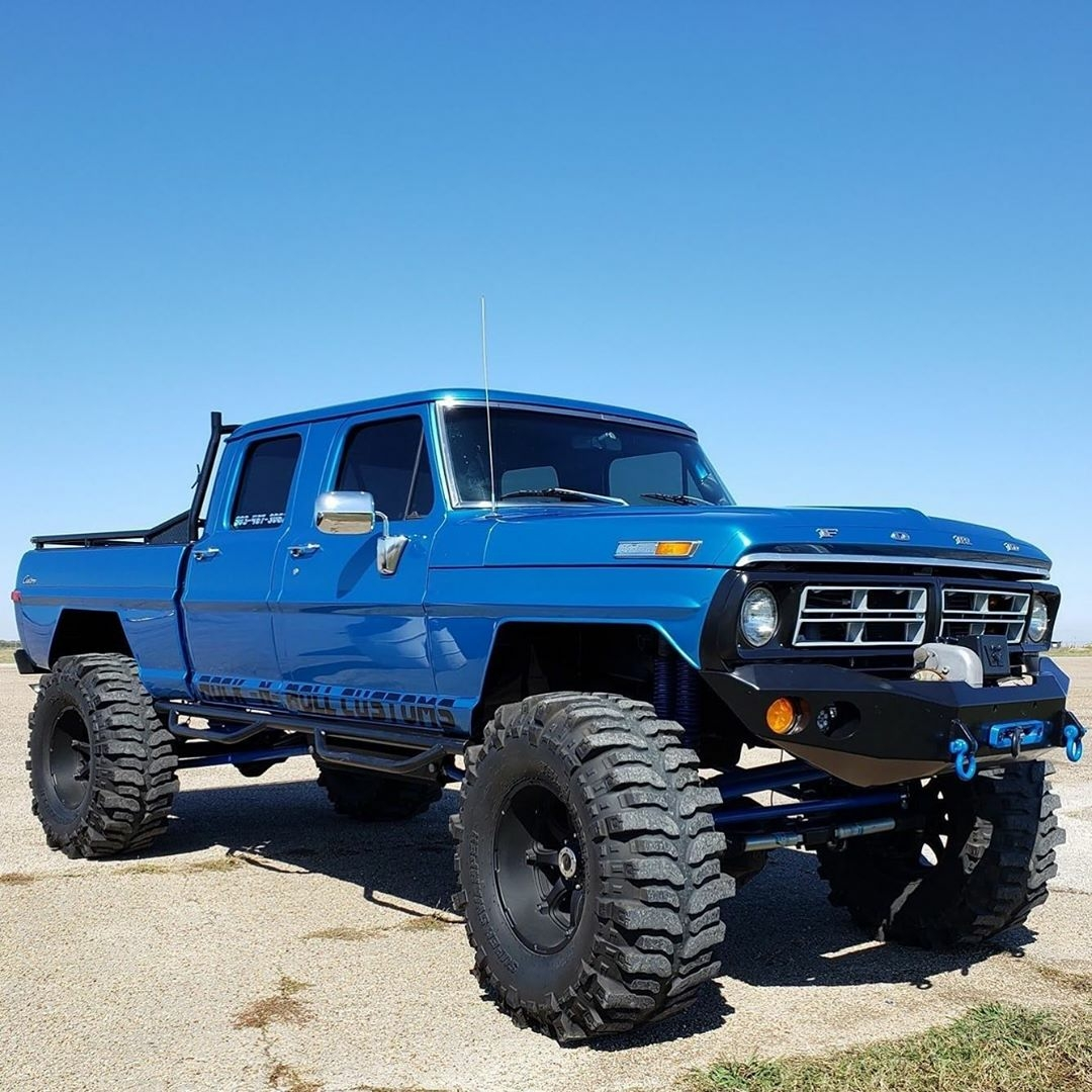 big blue classic ford pickup truck