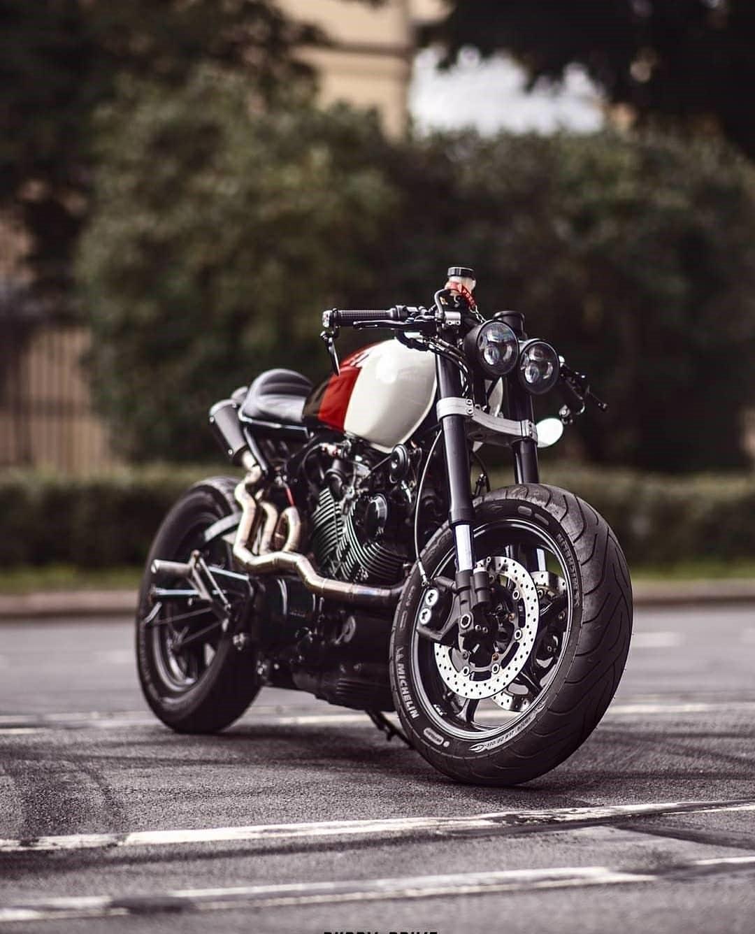 custom cafe style motorcycle