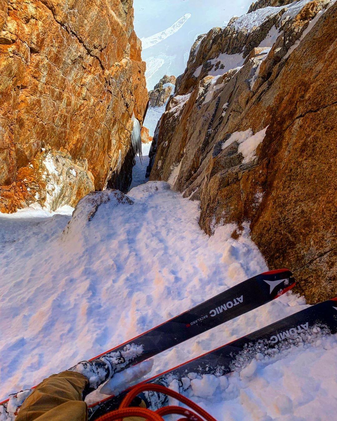skiing down canyon