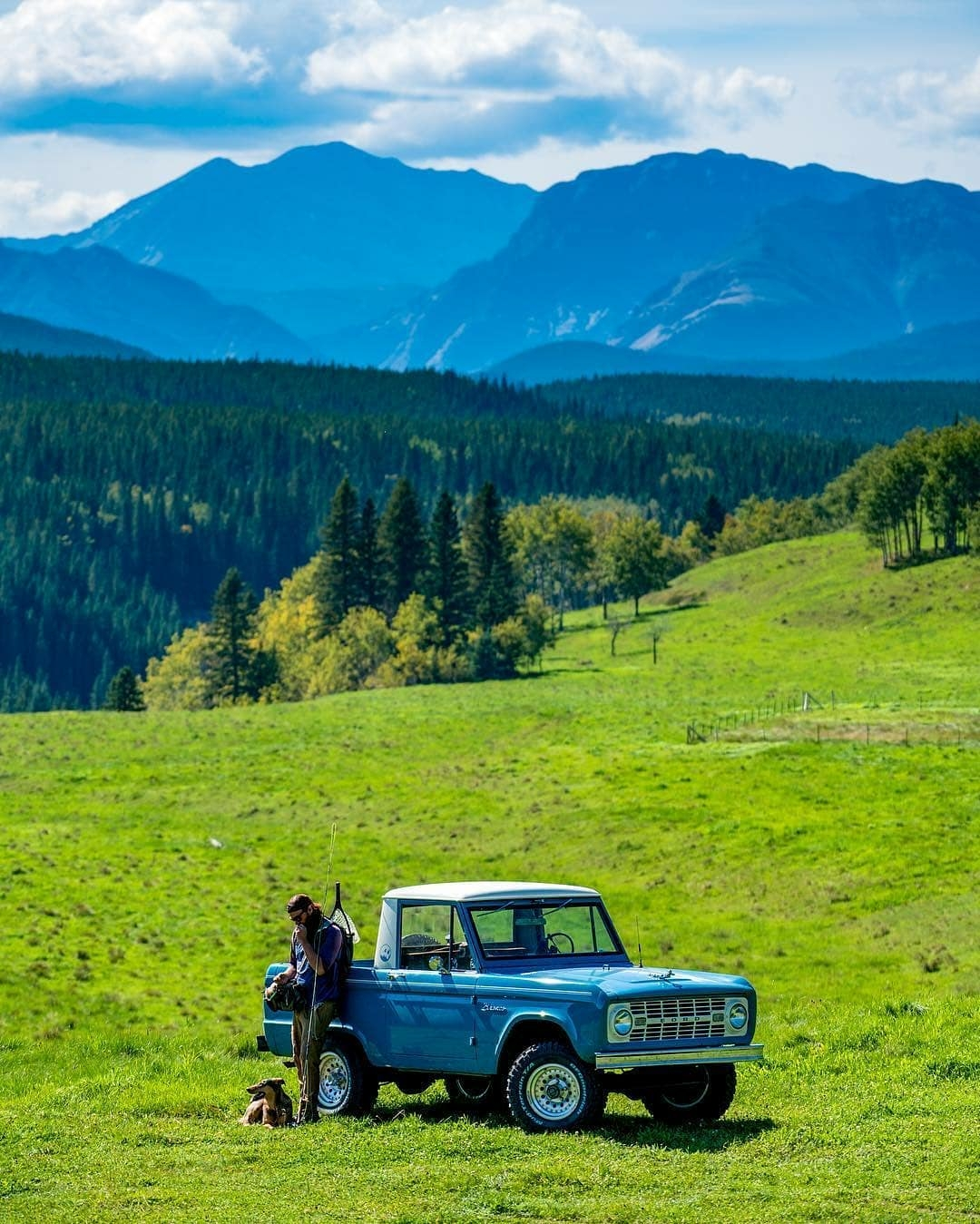 man with classic ford bronco