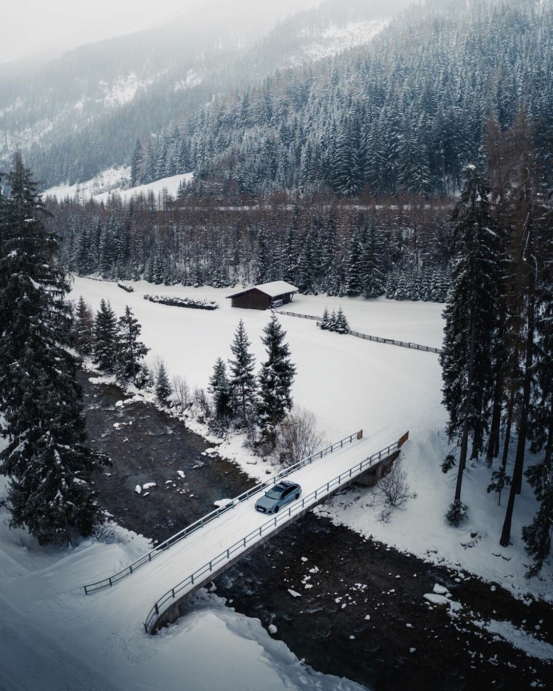 winter drive in an RS6