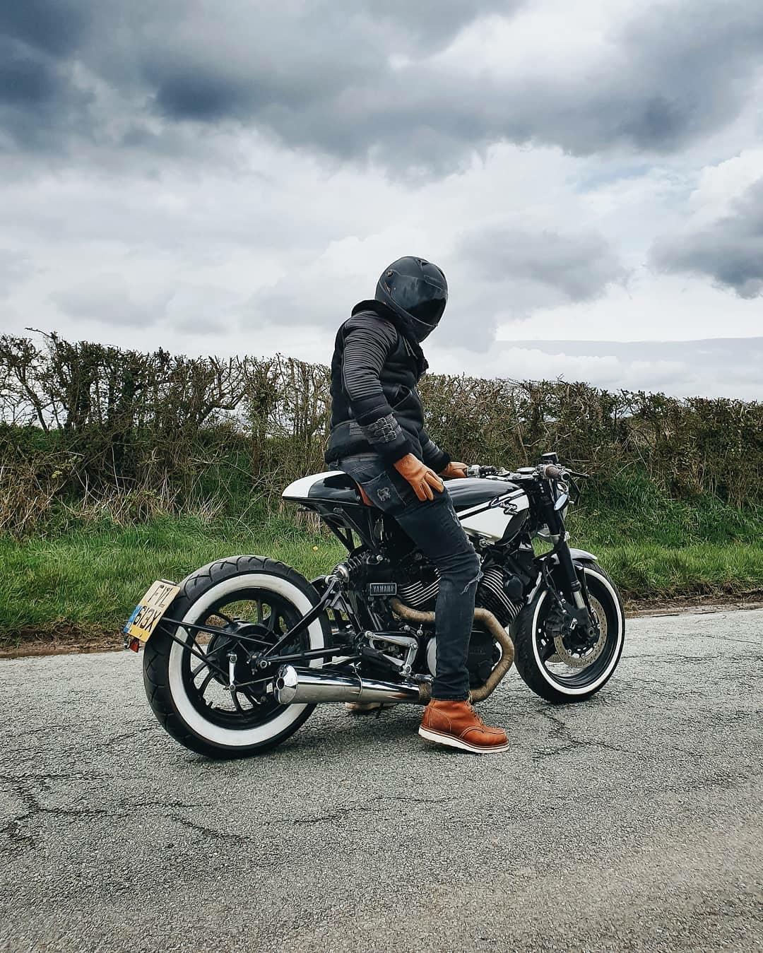 man on custom motorcycle