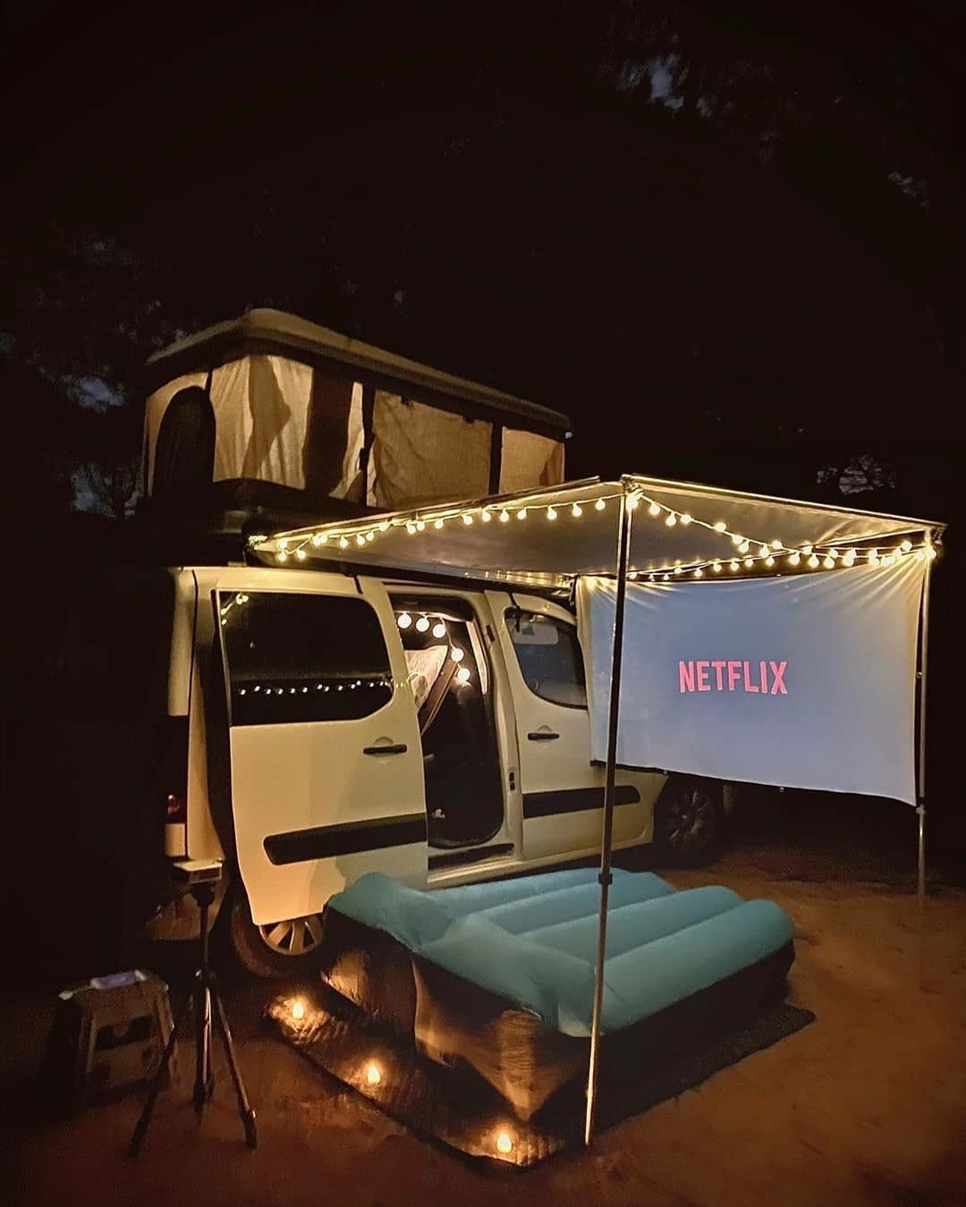 netflix screen outside camper van
